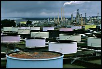 Storage citerns and piples, Oil Refinery, Rodeo. San Pablo Bay, California, USA (color)