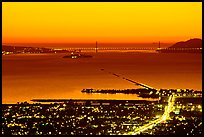 Bay and Golden Gate at sunset from the Berkeley Hills. Berkeley, California, USA ( color)