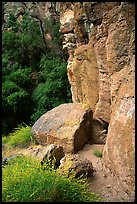 Volcanic rock cliffs. Pinnacles National Park, California, USA. (color)