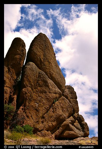 Spire with climbers. Pinnacles National Monument, California, USA (color)