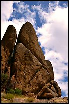 Spire with climbers. Pinnacles National Park, California, USA. (color)