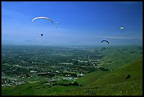 Paragliders, Mission Peak Regional Park. California, USA (color)