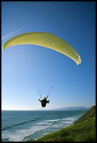Paragliding above the ocean, the Dumps, Pacifica. San Mateo County, California, USA ( color)