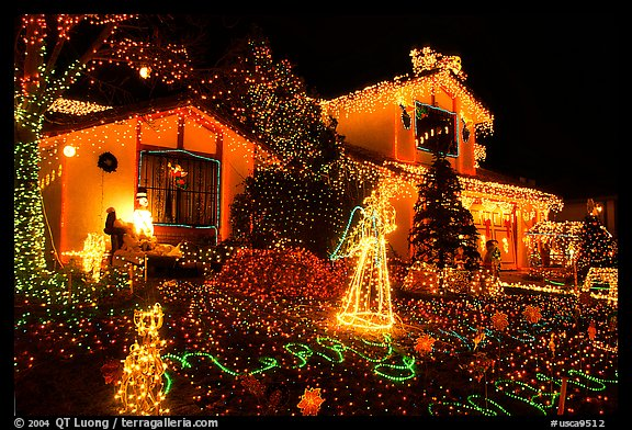 Picture/Photo: House with Christmas Lights. San Jose, California, USA