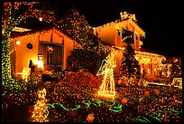 House with Christmas Lights. San Jose, California, USA