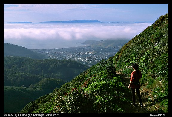 Hiker on Montara Mountain. San Mateo County, California, USA (color)