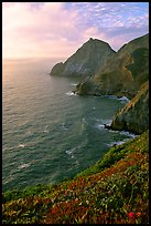 Coastline near Devil's slide, sunset. San Mateo County, California, USA ( color)