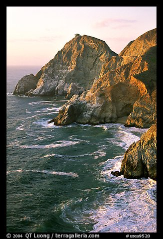 Cliffs and surf near Devil's slide, sunset. San Mateo County, California, USA (color)