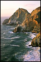 Cliffs and surf near Devil's slide, sunset. San Mateo County, California, USA