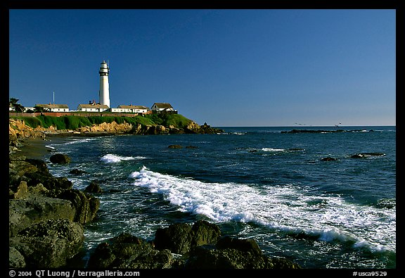 Wave and Pigeon Point Lighthouse, afternoon. San Mateo County, California, USA (color)