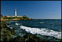 Wave and Pigeon Point Lighthouse, afternoon. San Mateo County, California, USA