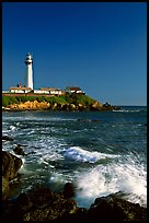 Surf and Pigeon Point Lighthouse, afternoon. San Mateo County, California, USA (color)