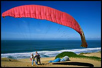 Paragliders practising in sand dunes, Marina. California, USA ( color)