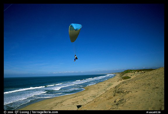 Paragliders soaring above Marina sand dunes. California, USA (color)