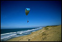 Paragliders soaring above Marina sand dunes. California, USA ( color)