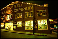 Cannery Row building at night, Monterey. Monterey, California, USA