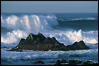 Crashing waves and rocks, Ocean drive. Pacific Grove, California, USA ( color)