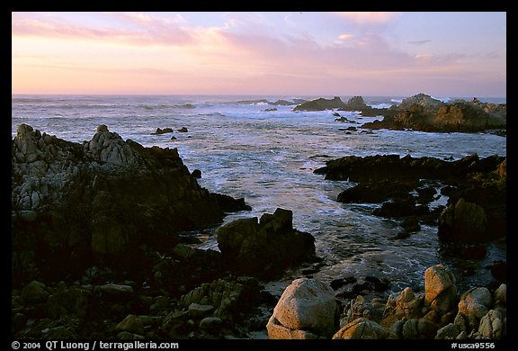 Coastline at sunset, Asilomar State Beach. Pacific Grove, California, USA
