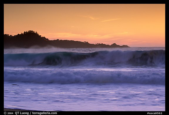 Surf at  sunset,  Carmel River State Beach. Carmel-by-the-Sea, California, USA (color)
