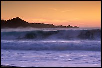 Surf at  sunset,  Carmel River State Beach. Carmel-by-the-Sea, California, USA