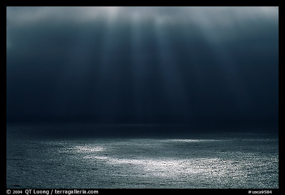 Light and fog over the Ocean. Big Sur, California, USA