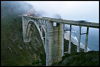 Bixby Creek Bridge in fog. Big Sur, California, USA