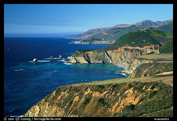 Distant view of Bixby Creek Bridge and coast. Big Sur, California, USA (color)