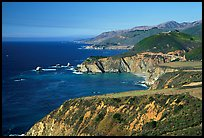 Distant view of Bixby Creek Bridge and coast, afternoon. Big Sur, California, USA