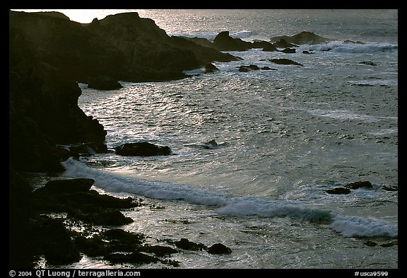 Rocks and surf, Garapata State Park, afternoon. Big Sur, California, USA (color)