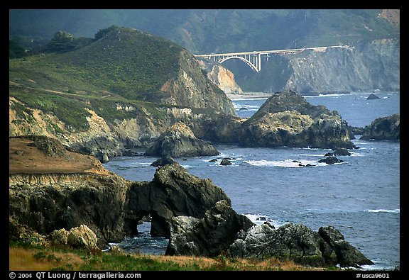 Rocky coast and Bixbie Creek Bridge. Big Sur, California, USA (color)