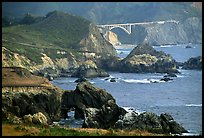 Rocky coast and Bixbie Creek Bridge. Big Sur, California, USA