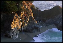 McWay Cove waterfall, late afternoon. Big Sur, California, USA (color)