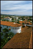 Rooftop of the courthouse with red tiles. Santa Barbara, California, USA ( color)