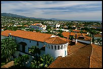 Red tile rooftops of the courthouse. Santa Barbara, California, USA