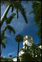 Palm trees and  courthouse. Santa Barbara, California, USA (color)