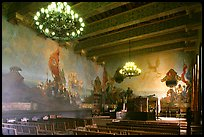 Decorated mural  room of the courthouse. Santa Barbara, California, USA (color)