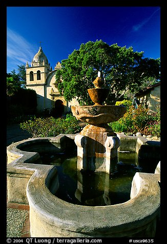 Fountain and chapel, Carmel Mission. Carmel-by-the-Sea, California, USA
