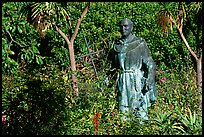Statues of the father in the garden, Carmel Mission. Carmel-by-the-Sea, California, USA (color)