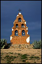 Bell tower, Mission San Miguel Arcangel. California, USA