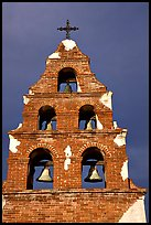 Bell tower, Mission San Miguel Arcangel. California, USA (color)
