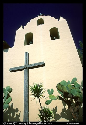 Cross and bell tower, Mission Santa Inez. Solvang, California, USA (color)
