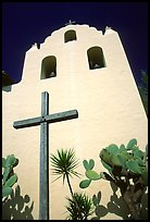 Cross and bell tower, Mission Santa Inez. California, USA (color)