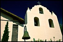Cross and bell tower, Mission Santa Inez. California, USA