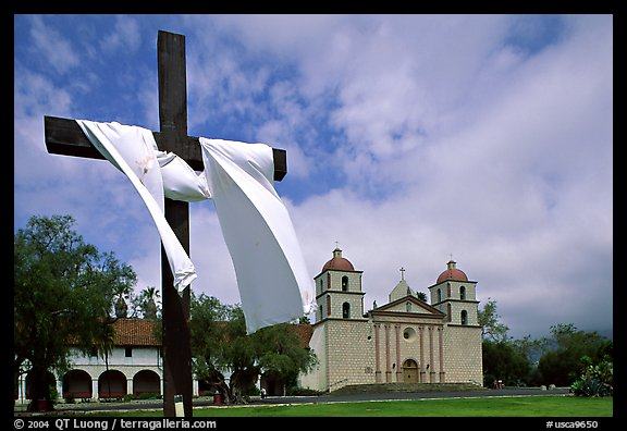 Cross and Mission Santa Barbara,  morning. Santa Barbara, California, USA