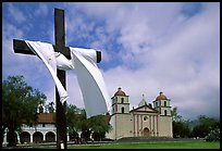 Cross and Mission Santa Barbara,  morning. Santa Barbara, California, USA (color)