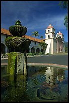 Fountain and Mission Santa Babara, mid-day. Santa Barbara, California, USA ( color)