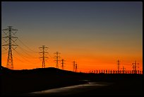 Power lines at sunset, Central Valley. California, USA ( color)