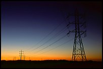 Power lines at sunset, San Joaquin Valley. California, USA ( color)