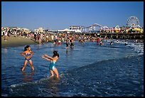Beach near the pier, late afternoon. Santa Monica, Los Angeles, California, USA (color)