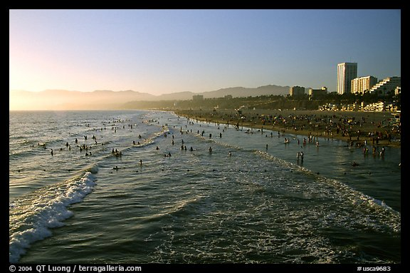 Beach seen from the pier, late afternoon. Santa Monica, Los Angeles, California, USA (color)